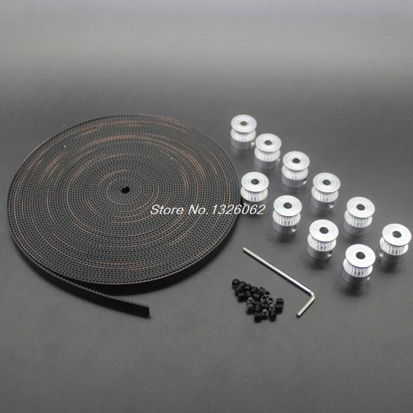 Free Shipping 10Meters GT2-6mm Open Timing Belt + 10pcs GT2 16teeth 16 teeth Timing Alumium Pulley Bore 5mm