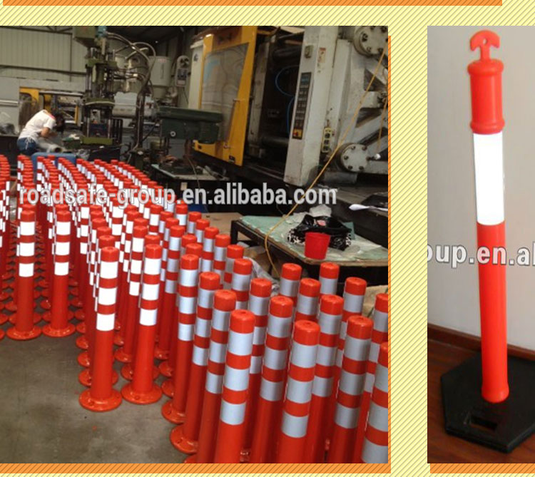 Traffic safety flexible spring delineator post plastic warning bollard