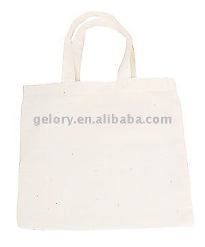 white cotton canvas tote bag for shopping