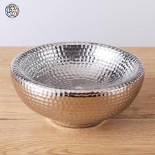 Cheap multi sizes silver color antique glazed ceramic fruit bowl for daily use