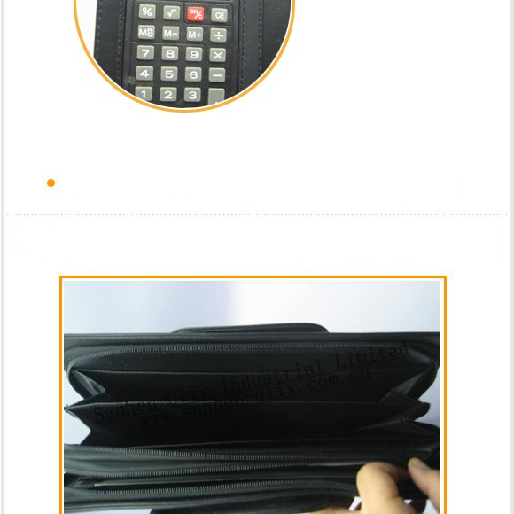 Mulit-function Factory direct business zippered leather portfolio with calculator