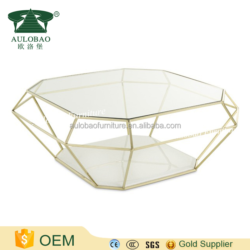 Top quality luxury stainless steel diamond coffee table