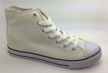 popular style with high top canvas sneakers shoe for kids and adult