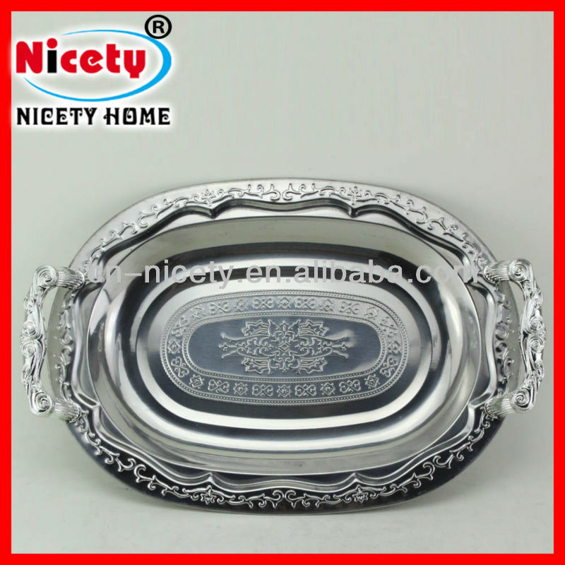 Oval stainless steel silver platter