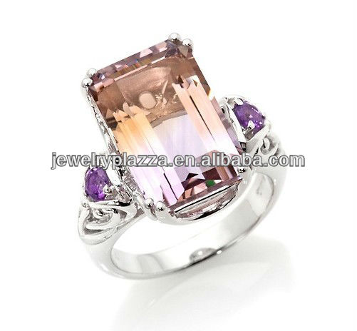 Unique Amethyst Sterling Silver Ring,18k Gold Plated Silver Jewelry