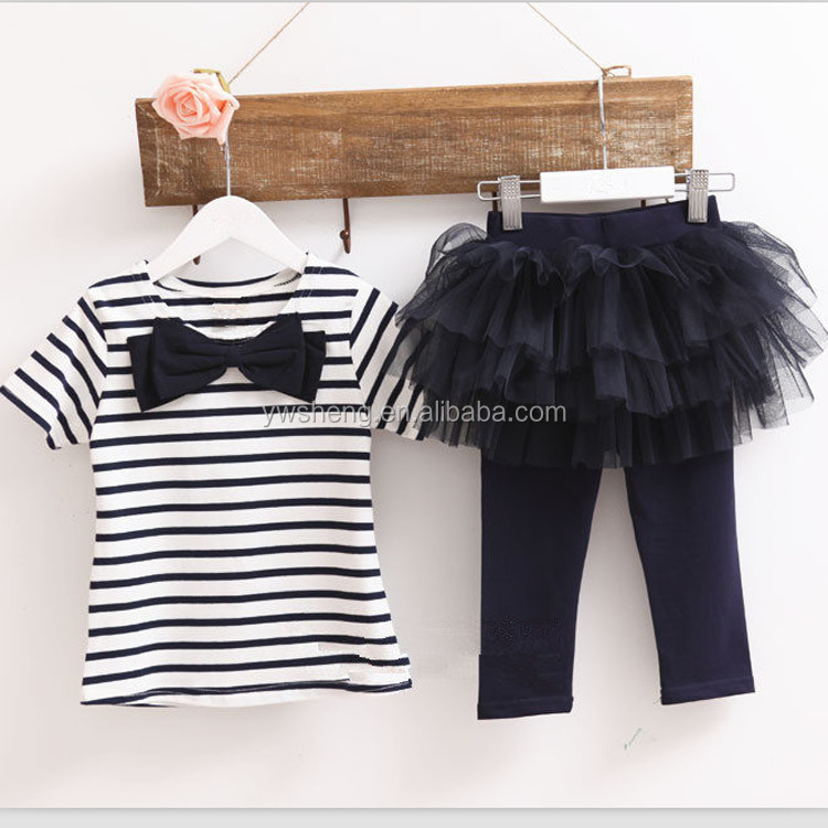 Free shipping cotton children clothing swing top & long pants Cheap china wholesale kids clothing sets baby girls stripe top