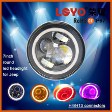 "Perfect price 7"" round led headlight 45w halo angel eye kit , car parts work light pink red bule yellow purple green"