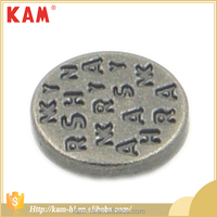 High quality pewter carved letter round vintage metal shank button