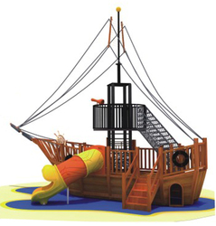 Outdoor Park Wooden Playground Pirate Ship BD-A16528