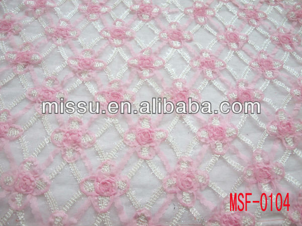 Mesh cord/tape/ribbon embroidery rose/rosette fabric