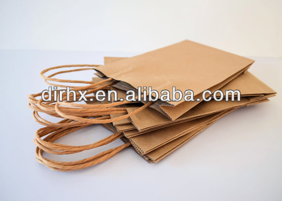 Small Recycled Brown Kraft Paper Carry Bags with Paper Twist Handles