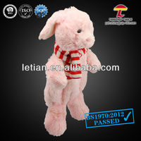 500ml BS hot water bottle with animal cover pink sweety rabbit with stripes scarf