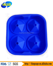 Premium Ice Cube Silicone Tray Diamond Shaped 4 Cells Flexible&Reusable Molds For Chocolate, Candy, Soaps, Popsicles & Candles