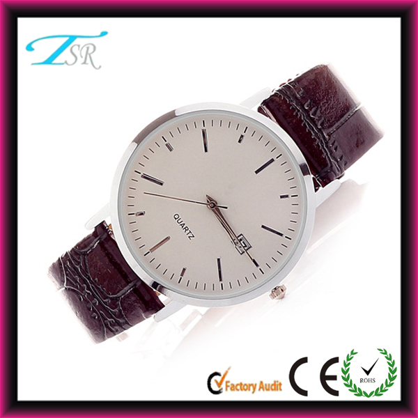 Normal living waterproof watches simple style silver case and PU leather strap alloy case hot selling
