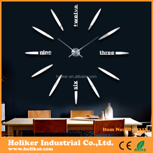 2017 new design home decorative large acrylic mirror 3D diy wall clock