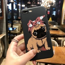 Cute Puppy Pug English Mastiff Soft TPU Phone Case Cover For iPhone 8 7 7Plus 6 6S 6Plus 5 5S SE Shell Capa Dog Coque Funda bag
