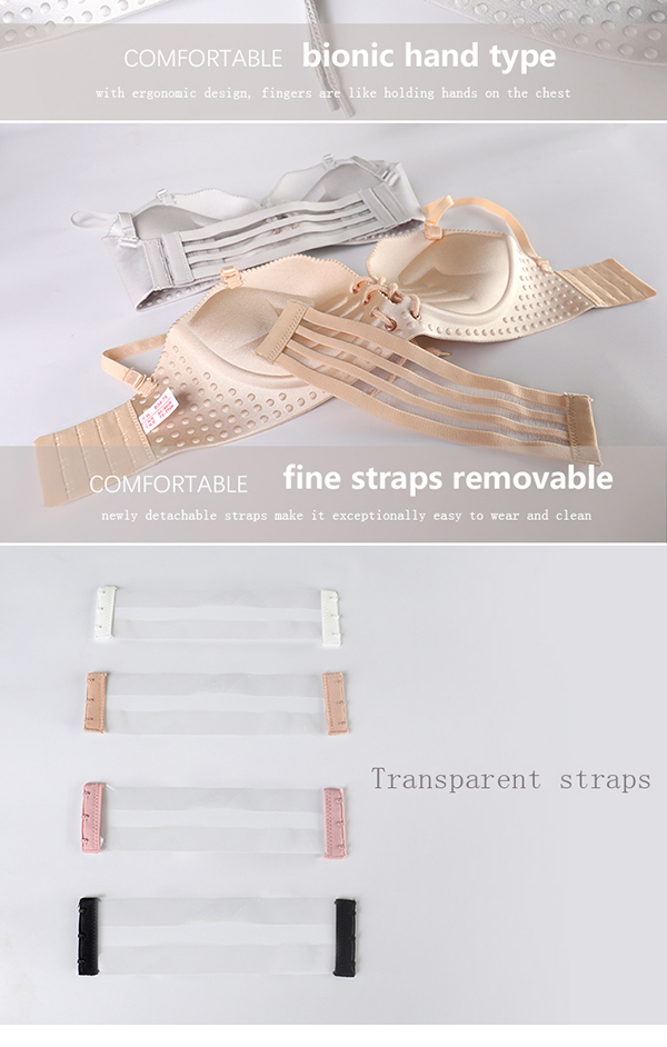 Lingerie Set Gathering on the Support Sexy no Steel Bra Straps Removable Invisible Chest Bra Thin Section Summer