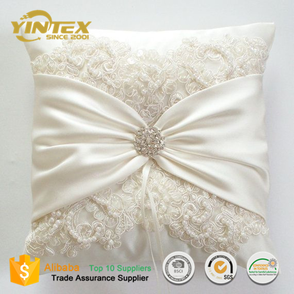 White or Ivory Romantic Lace Wedding Ring Pillow