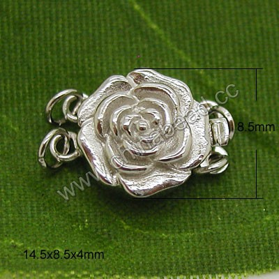 2017 latest 925 sterling silver box clasps in silver plating, Rose box clasp