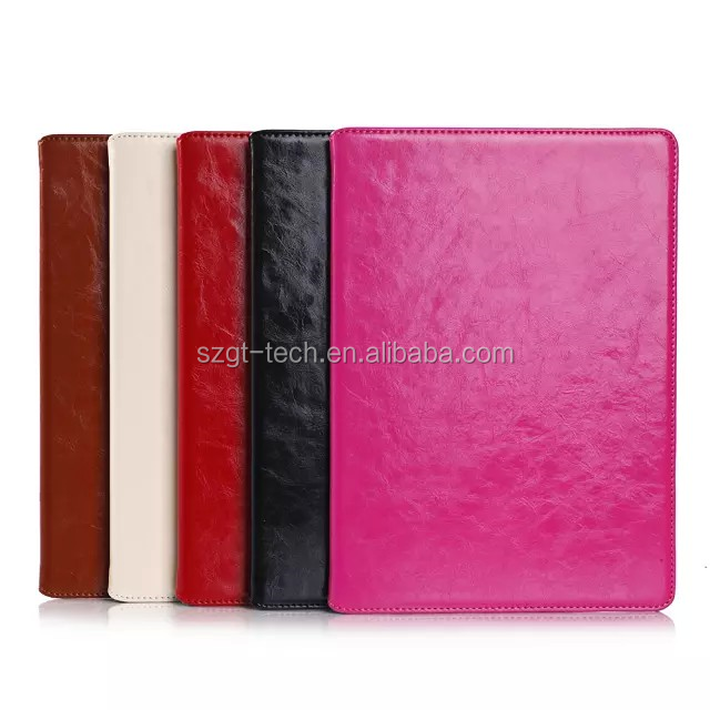 Genuine leather pc hard stand case with card slot flip cover case for iPad air 2