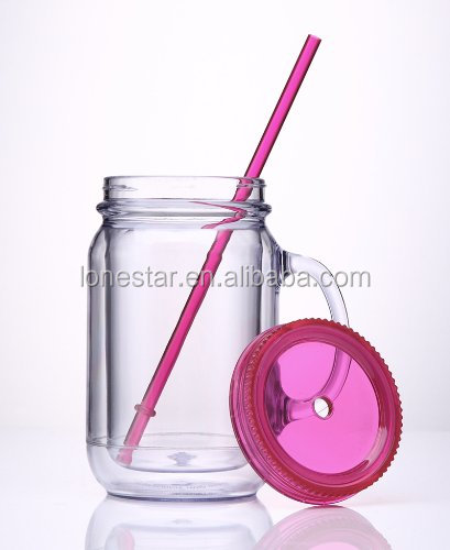 Promotion BPA free Plastic pattern acrylic mason jar with handle and straw/20oz Double wall mason jar