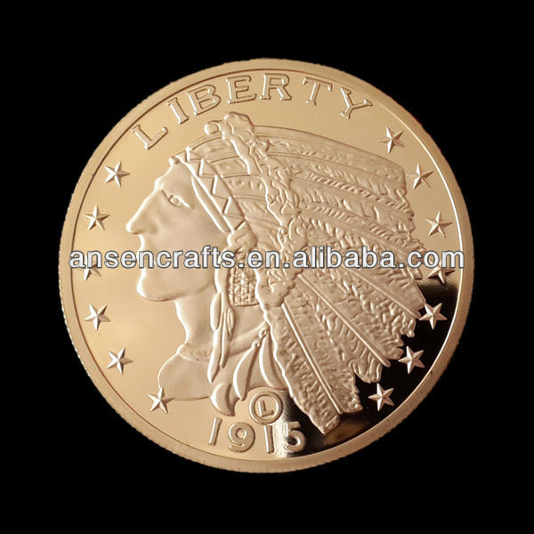 1915 Indian Head Liberty Gold Coins Without Copy,24K Gold Plated Standing American Eagle