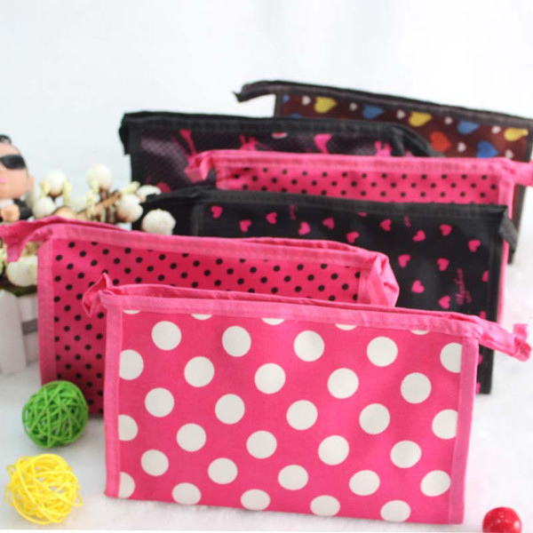 professional High quality Dot design make up bag most beautiful cosmetic makeup bag custom from China