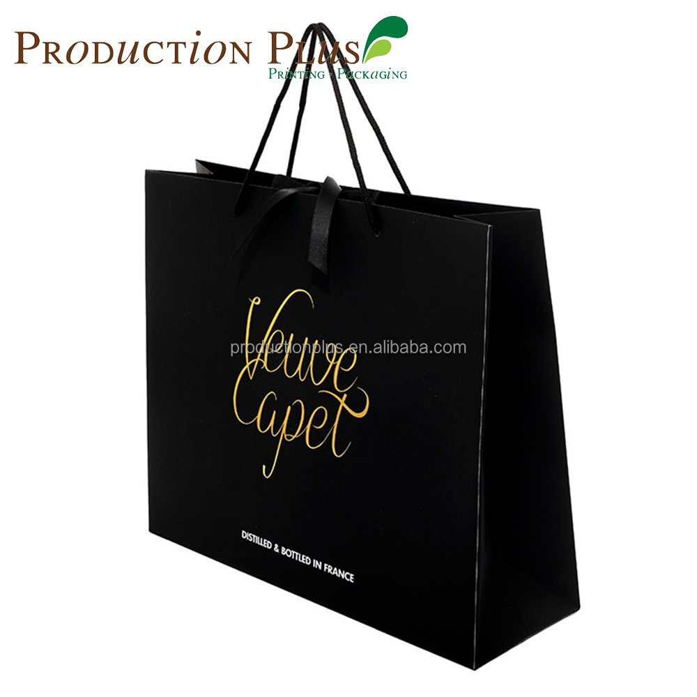 Direct manufacturer promotional heavy duty takeaway 190 gsm art paper black customized shopping bag