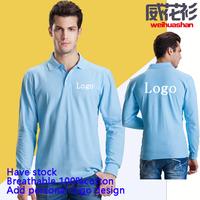 Wholesale Printed Logo Polo shirt For company's activities Stock long sleeve 100%cotton custom logo polo shirt