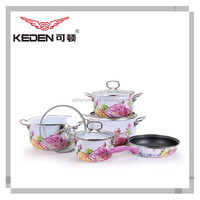 9 pcs stainless steel handle porcelain enamel cookware