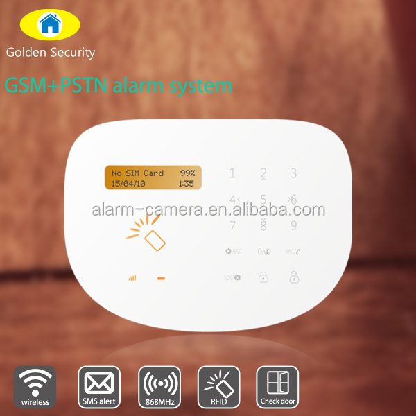 Glass break/burglar/fire detecting gsm wireless alarm system with powerful app operation and RFID cards in package