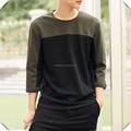 2016 new winter design Loose Fit heavy cotton contrasted color panel Long Sleeve Men's fashion T-shirt