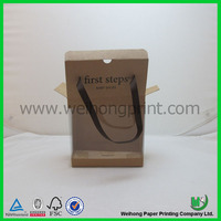 custom kraft paper baby shoe box with clear PVC window