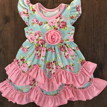 2017 newest design posh dress girl vintage girl flutter seelve dress rose ruffle baby clothing wholesale