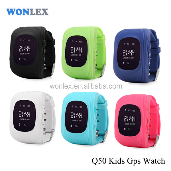 Wonlex Q50/Kids gsm gps tracker watch kids cell phone watch with SOS panic button, LBS+GPS, mobile apps and long battery life