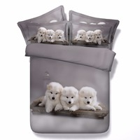 White Samoyed Puppies Cuddling 3d Animal