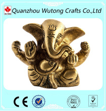 Gold Ganesha Resin Hindu Elephant Figurine of Home Decoration 5 inch High