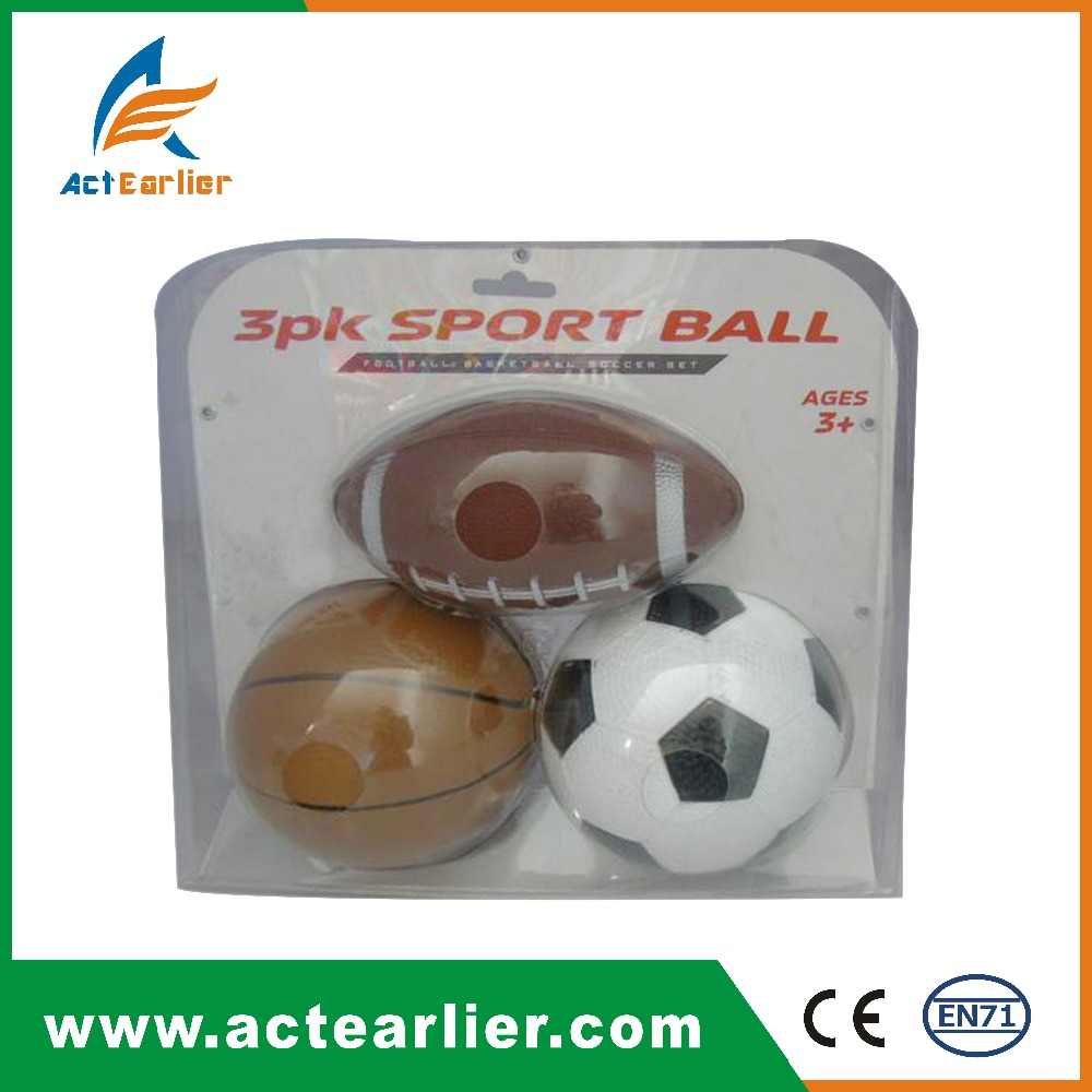 3PK quality set of American football soccer ball basketball