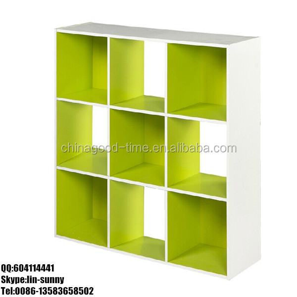 Wooden diy 9 cube kids book shelf
