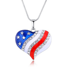 July 4th Hot Design Pendant Necklace for Women Fashion Colorful Crystal Patriotic Necklaces Heart-shaped American Flag Necklaces