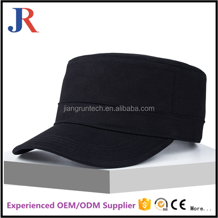 2017 hot sale factory price cheap blank flat top military hats and caps men blank cycling cap wholesale