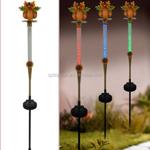 Harvest festival decorations pumpkin crystal metal garden stake
