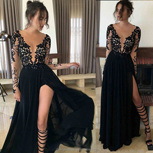 Sexy Collection Black Beading Prom Dresses Plus Size Chiffon Split Open Back Western Club Party Women Prom Dress