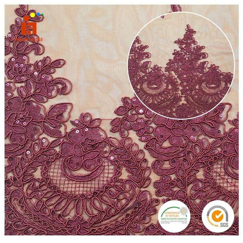 China Shaoxing Fabric supplier 100%polyester george embroidered 3d heavy beaded lace fabric tulle