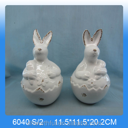 Easter decoration lovely ceramic rabbit figurine