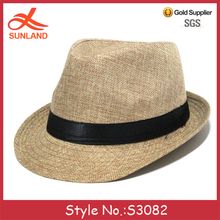 S3082 new 2017 cheap spring summer straw gangster hats men fedora hats with black band