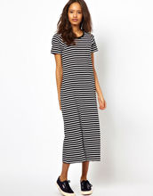 Ecoach New Look 100% Cotton Ribbed Scoop Neck Striped short sleeve maxi dress