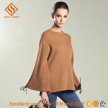 women round neck knitted sweater mandarin long sleeve wide binder twine cuff lady apparel factory garment hot sale