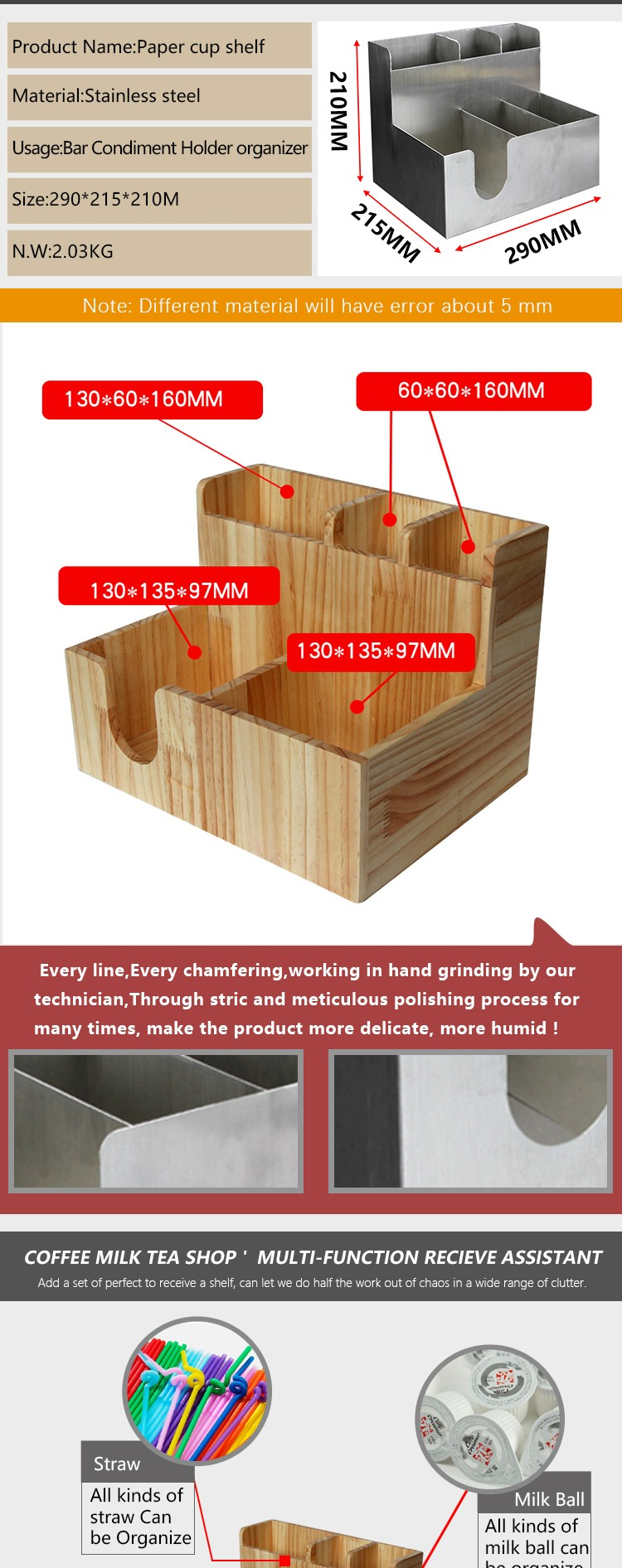 Factory wholesale wooden storage coffee napkin,stirred cup holder timber lid straw cup sugar packet holder wooden pieces