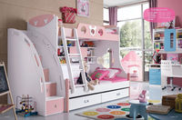 2015 New Design children bedroom furniture cute kids bunk bed with desk and wardrobe